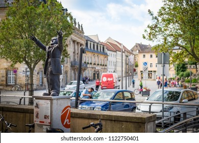 BAYREUTH, GERMANY - 22.06.2018 : Bavarian Town Bayreuth, Downtown Bayreuth (old town)- Richard Wagner