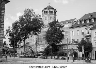 BAYREUTH, GERMANY - 22.06.2018 : Bavarian Town Bayreuth, Downtown Bayreuth (old town)-Church B&W