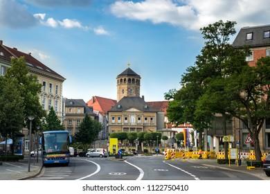 BAYREUTH, GERMANY - 22.06.2018 : Bavarian Town Bayreuth, Downtown Bayreuth (old town)-Welcome to Bayreuth
