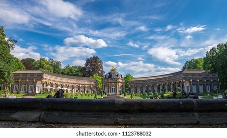 BAYREUTH, GERMANY - 29.06.2018 : Bavarian Town Bayreuth-New Palace in Hermitage garden 16:9