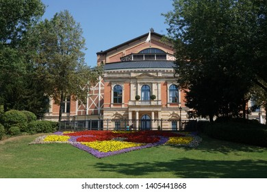 Bayreuth, Germany - August 4, 2018: Bayreuth Festspielhaus or Bayreuth Festival Theatre, the Richard Wagner Festival Hall opera house on the Green Hill in Bayreuth