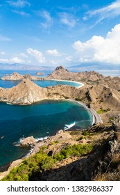 Bays along the coast of Padar Island in Komodo National park in autumn, a protected area which is a paradise for diving, Lubuan Bajo, Flores, Nusa Tenggara, Indonesia
