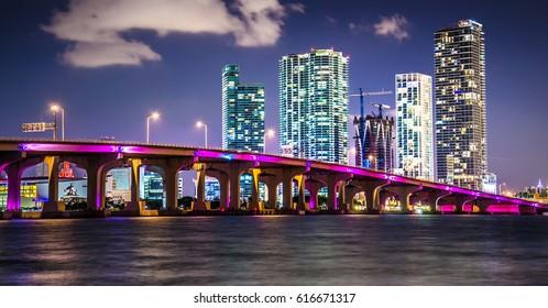 Bayside Marketplace Miami Downtown behind MacArthur Causeway shot from Venetian Causeway