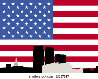 Bayside Miami skyline with American flag illustration JPG