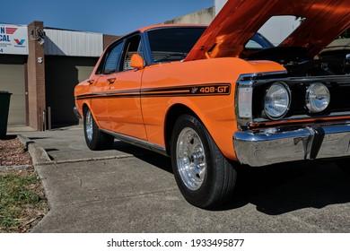 Bayswater, Victoria, Australia 02-27-2021. Highly Modified 1969 Ford XW Sedan