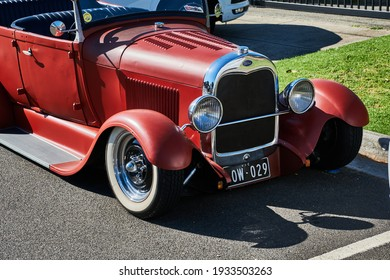 Bayswater, Victoria, Australia, 02-28-2021.Ford Roadster Hot Rod. Hot rods are typically old, classic, or modern American cars that have been rebuilt or modified with large engines modified for