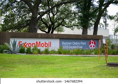 Baytown, Texas - July 31, 2019: ExxonMobil Baytown Olefins plant in Baytown, near Houston, Texas, USA