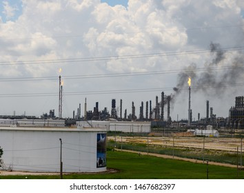 Baytown, Texas - July 31, 2019: A fire is burning at the ExxonMobil Olefins Plant in Baytown