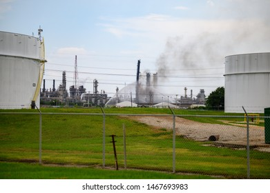 Baytown, Texas - July 31, 2019: Firefighters battle blaze after explosion at the ExxonMobil Baytown olefins chemical plant in Baytown, near Houston Texas