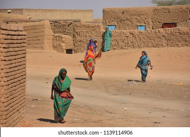 Bayuda, Sudan - November, 19, 2017: sudanese people in sahara village