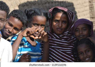 Bayuda, Sudan - November, 19, 2017: unidentified group of child in sudanese village