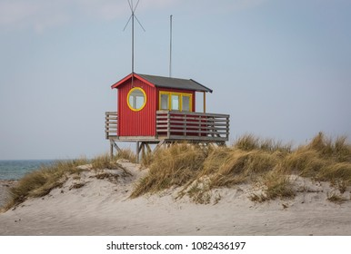 The baywatch house on a sand dune at the beach of Skanor, Skane Sweden when spring