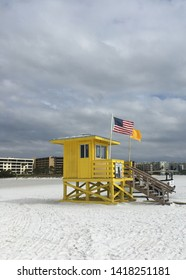 A baywatch house standing on the shore
