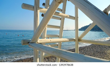 Baywatch tower at the beach of Liguria in Italy