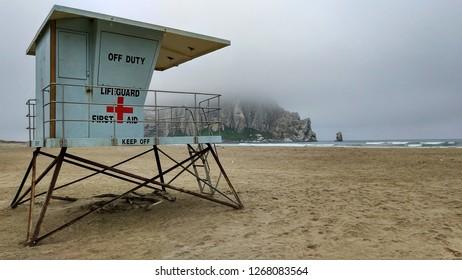 Baywatch tower near Monterrey in California's Big Sur on a foggy day