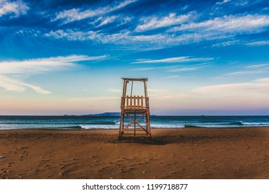 A baywatch tower on a lonely beach