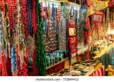 Bazaar in Old City offers middle east traditional products and souvenirs. It is very popular site with tourists and pilgrims visiting Jerusalem, Israel.