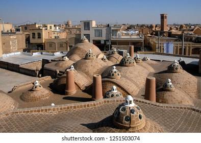 Bazaar roof and view at Kashan. Iran