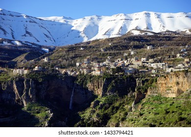 Bazaoun town and waterfall in gorge