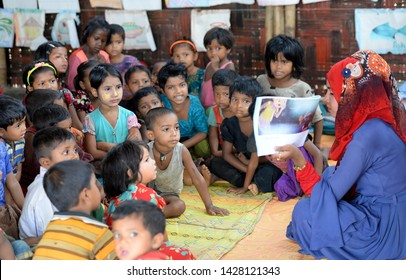 Cox's bazar, Bangladesh - April 05, 2019: Rohingya refugee childrens attend class at a temporary school in Balukhali refugee camp at Ukhiya in Cox's Bazar,