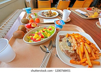 BAZET-FRANCE-JUNE 19 : Dinning France style at restaurant, June 19, 2017, Bazet France