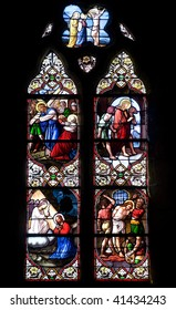 Bazouges-la-Perouse (Ille-et-Vilaine, Brittany, France) - Interior of the ancient church: stained glass