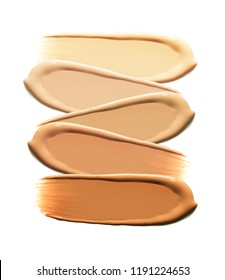 BB CC foundation smudged cream sample isolated from light to dark