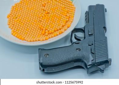 BB gun, Airsoft gun with bb bullets  ,Selective focus