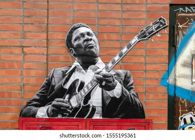 BB King Photo On The Wall Of The Stopera At Amsterdam The Netherlands 2019