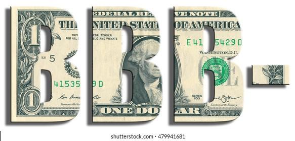 BBB- Credit Rating. US Dollar texture. 3D illustration.