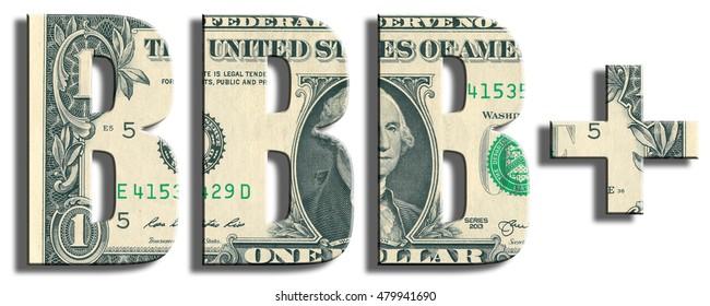 BBB+ Credit Rating. US Dollar texture. 3D illustration.