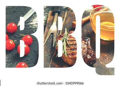 "BBQ. Abbreviation of the word ""barbecue"" with the transparency of the barbecue meal. Juicy steak-barbecue."