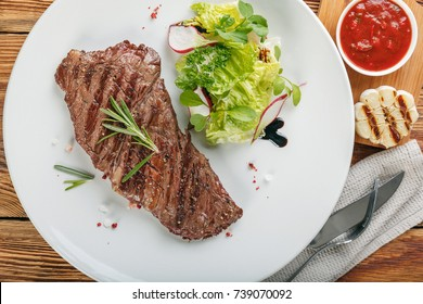 BBQ alternative steak is on a white plate
