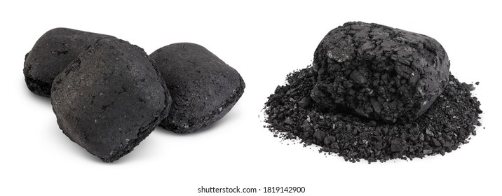 bbq charcoal briquette isolated on white background with clipping path and full depth of field