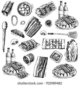 BBQ. Hand drawn doodle set. Decorative elements and food ingredients. Onions, mushrooms, meat, rolls, cabbage, sauce, beverage  isolated on white.  Korean BBQ