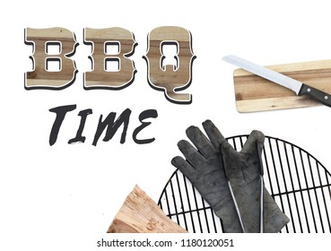 BBQ invitation party text bbq time angle top view barbecue stuff tools grill wood