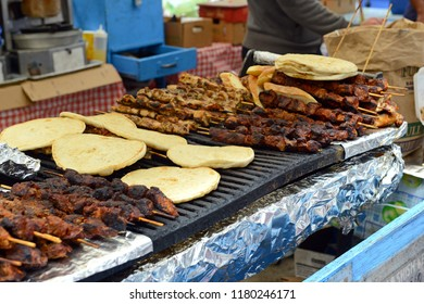 BBQ meat on grill from street vendor in the city