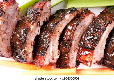 bbq pork ribs with a rich barbeque sauce