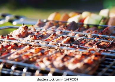 BBQ and vegetables. Macro