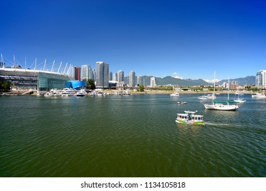BC PLACE STADIUM - JULY 13, 2018: BC Place is a multi-purpose stadium located at the north side of False Creek, in Vancouver, B.C., Canada. False Creek is a favorite playground of Vancouveriters.