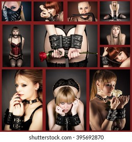 bdsm collage with beautiful woman in handcuffs