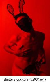 bdsm slave man rabbit red