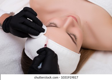 Be always young! Young woman getting beauty facial aging plasmolifting injections in the cosmetology salon.