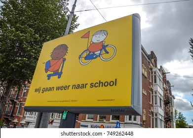 Be Aware Children  Go To School Again Sign From Miffy Amsterdam The Netherlands 2017