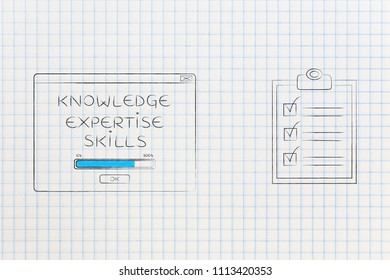 be the best at work conceptual illustration: knowledge expertise skills loading pop-up message next to to do list ticked off