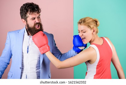 Be careful. problems in relationship. sport. bearded man hipster fighting with woman. knockout punching. who is right. win the fight. Strength and power. family couple boxing gloves.
