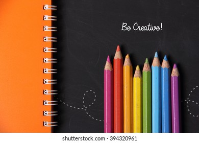 Be Creative!  Fun colorful background design for art / education concept