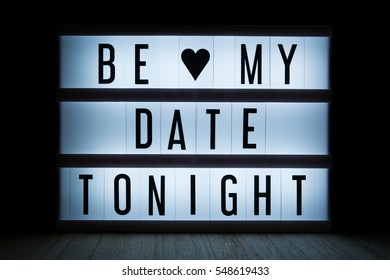 'Be my date tonight' text in lightbox