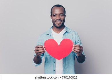 Be my girlfriend! I love you! Portrait of tender gentle romantic sweet lovely open-hearted african man showing big red heart in hands isolated on gray background