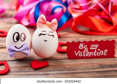Be my Valentine card. Love eggs, hearts, colorful backdrop. How to invite a girl.